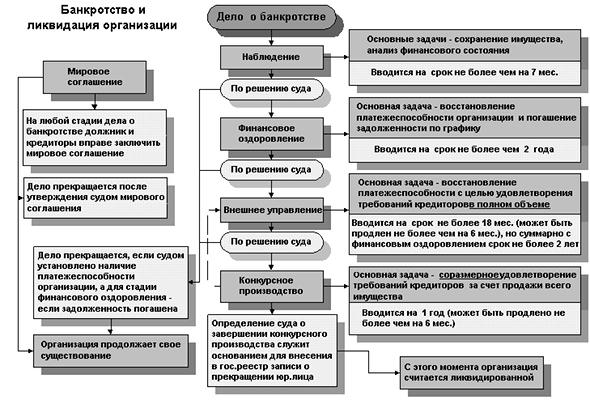 стадии и цели процесса банкротства